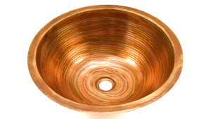 ROUND with Flat Rim in Fuego - BS001FU - Undermount Bath Copper Sink - 17 x 6""