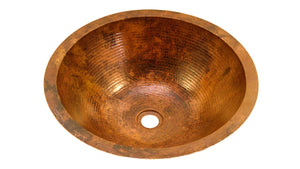 ROUND with Flat Rim in Natural - BS001NA - Undermount Bath Copper Sink - 17 x 6""