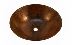 "KAHLO in Cafe Viejo - VS002CV - Round Vessel Bathroom Copper Sink - 17 x 4.5"" - Thick Gauge 14 - www.artesanocoppersinks.com"