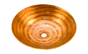 "KAHLO in Fuego - VS002FU - Round Vessel Bathroom Copper Sink - 17 x 4.5"" - Thick Gauge 14"