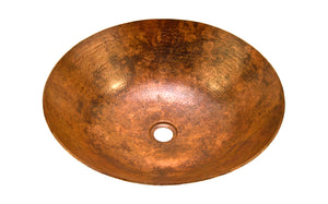 "KAHLO in Natural - VS002NA - Round Vessel Bathroom Copper Sink - 17 x 4.5"" - Thick Gauge 14"