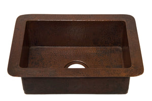 "Kitchenette Undermount Kitchen Copper Sink - Single Basin - 22 x 16 x 7"" - KS007CV - www.artesanocoppersinks.com"