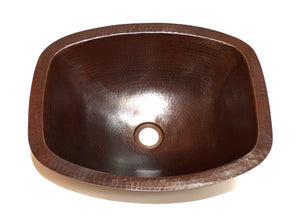 LUNA INCA in Cafe Viejo - BS011CV - Rectangular Undermount Bath Copper Sink with Flat Sides and Flat Rim - 17 x 14 x 6""