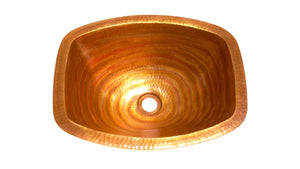 "LUNA INCA in Fuego - BS011FU - Rectangular Undermount Bath Copper Sink with Flat Sides and Flat Rim - 17 x 14 x 6"" - www.artesanocoppersinks.com"