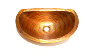 "LUNA MAYA in Fuego - BS010FU - Oval Undermount Bath Copper Sink with Flat Back and Flat Rim - 19 x 12 x 6"" - www.artesanocoppersinks.com"