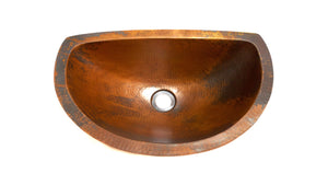 "LUNA MAYA in Natural - BS010NA - Oval Undermount Bath Copper Sink with Flat Back and Flat Rim - 19 x 12 x 6"" - Artesano Copper Sinks"