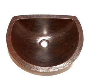 "LUNA in Cafe Viejo - BS009CV - Oval Undermount Bath Copper Sink with Flat Back and Flat Rim - 17 x 14 x 6"" - www.artesanocoppersinks.com"