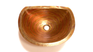 "LUNA in Fuego - BS009FU -  Oval Undermount Bath Copper Sink with Flat Back and Flat Rim - 17 x 14 x 6"" - www.artesanocoppersinks.com"