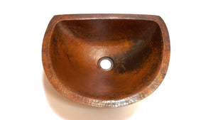 LUNA in Natural - BS009NA - Oval Undermount Bath Copper Sink with Flat Back and Flat Rim - 17 x 14 x 6""
