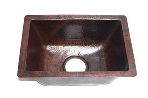 "MENDOCINO in Cafe Viejo - BP002CV -  Rectangular Undermount Bar Copper Sink with 1"" Flat Rim - 17 x 12 x 7"" - Gauge 16 - www.artesanocoppersinks.com"