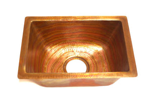 "MENDOCINO in Fuego - BP002FU - Rectangular Undermount Bar Copper Sink with 1"" Flat Rim - 17 x 12 x 7"" - Gauge 16"