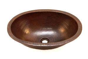 "MICHELANGELO in Cafe Viejo - VS010CV - Oval Vessel Bathroom Copper Sink - 19 x 14 x 6"" - Double Wall"