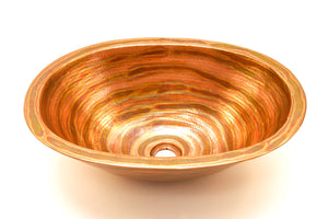 "MICHELANGELO in Fuego - VS010FU - Oval Vessel Bathroom Copper Sink - 19 x 14 x 6"" - Double Wall - www.artesanocoppersinks.com"