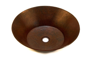 "MIRO in Cafe Viejo - VS006CV - Round Vessel Bathroom Copper Sink - 17 x 5"" - Thick Gauge 14"