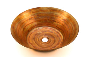 "MIRO in Fuego - VS006NA - Round Vessel Bathroom Copper Sink - 17 x 5"" - Thick Gauge 14 - www.artesanocoppersinks.com"