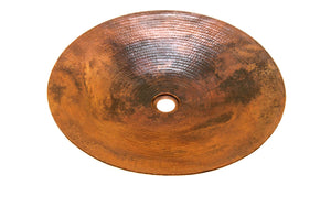 "NACHTWEY in NATURAL - VS016NA - Round Flat Vessel Bathroom Copper Sink - 19.5 x 3"" - Thick Gauge 14 - Artesano Copper Sinks"