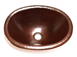 "OVAL SMALL in Cafe Viejo - BS016CV - Small Drop In Bath Copper Sink with 1"" ROLLED Rim - 16 x 12 x 5"" - Artesano Copper Sinks"