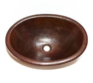 "OVAL with Rolled Rim in Cafe Viejo - BS003CV - Drop In Bath Copper Sink  - 19 x 14 x 6"" - Artesano Copper Sinks"