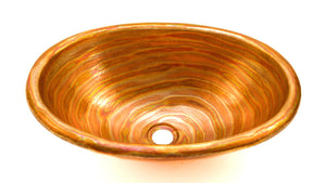 "OVAL with Rolled Rim in Fuego - BS003FU - Drop In Bath Copper Sink  - 19 x 14 x 6"" - www.artesanocoppersinks.com"