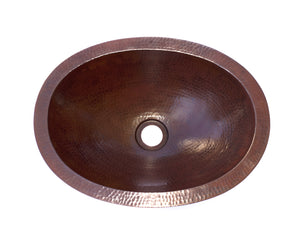 "OVAL SMALL in Cafe Viejo - BS008CV - Small Undermount Bath Copper Sink with 1"" FLAT Rim - 16 x 12 x 5"" - Artesano Copper Sinks"