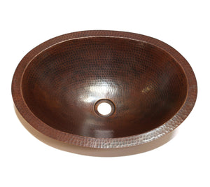 "OVAL with Flat Rim in Cafe Viejo - BS002CV - Undermount Bath Copper Sink - 19 x 14 x 6"" - - Artesano Copper Sinks"