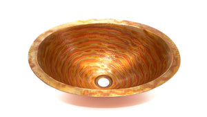 "OVAL with Flat Rim in Fuego - BS002FU - Undermount Bath Copper Sink - 19 x 14 x 6"" - - www.artesanocoppersinks.com"