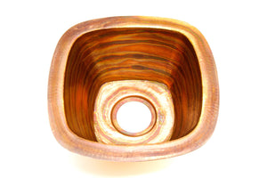"PASO ROBLES in Fuego -BP003FU - Square Undermount Bar Copper Sink with 1.5"" Flat Rim - 15 x 15 x 7"" - Gauge 16 - www.artesanocoppersinks.com"
