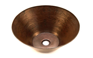 "PICASSO in Cafe Viejo - VS004CV - Round Vessel Bathroom Copper Sink - 16 x 6.5"" - Thick Gauge 14 - www.artesanocoppersinks.com"