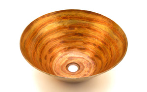 "PICASSO in Fuego - VS004FU - Round Vessel Bathroom Copper Sink - 16 x 6.5"" - Thick Gauge 14 - www.artesanocoppersinks.com"