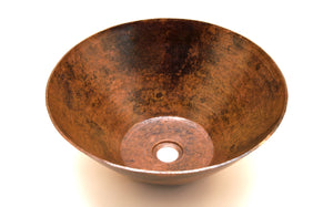 "PICASSO in Natural - VS004NA - Round Vessel Bathroom Copper Sink - 16 x 6.5"" - Thick Gauge 14"