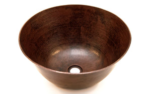 "RIVERA in Cafe Viejo - VS001CV - Round Vessel Bathroom Copper Sink - 16 x 6"" - Thick Gauge 14 - www.artesanocoppersinks.com"