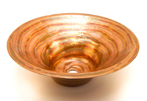 "RODIN in Fuego - VS011FU - Round Vessel Bathroom Copper Sink - 17 x 6"" - Double Wall - www.artesanocoppersinks.com"