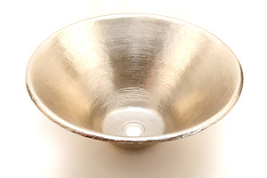 "SALGADO in Brushed Nickel - VS008BN - Round Vessel Bathroom Copper Sink - 17 x 6"" - Thick Gauge 14"