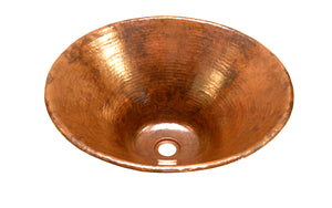 "SALGADO in Natural - VS008NA - Round Vessel Bathroom Copper Sink - 17 x 6"" - Thick Gauge 14"