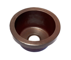 "SANTA BARBARA in Cafe Viejo - BP008CV - Round Raised Profile Bar Copper Sink with 1.5"" Apron - 15 x 8"" - Gauge 16"