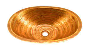 "SOL in Fuego - BS005FU - Oval Undermount Bathroom Copper Sink with 1"" Flat Rim - 19 x 14 x 4.5"""
