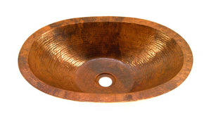 "SOL in Natural - BS005NA - Oval Undermount Bathroom Copper Sink with 1"" Flat Rim - 19 x 14 x 4.5"" - Artesano Copper Sinks"