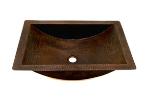 "TAMAYO in Cafe Viejo - VS018CV - Rectangular Undermount Bathroom Copper Sink with 1.5"" Flat Rim - 22 x 16 x 5"" - Gauge 16"