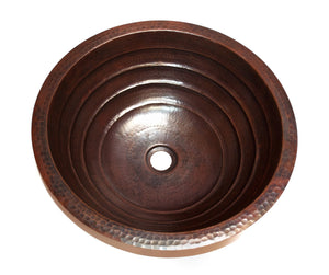 "TORNEDO in Cafe Viejo - BS006CV - Round Undermount Bathroom Copper Sink with 1"" Flat Rim - 17 x 6"" - Artesano Copper Sinks"