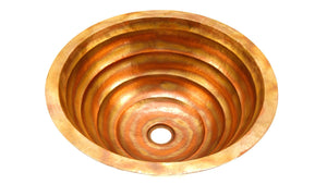 "TORNEDO in Fuego - BS006FU - Round Undermount Bathroom Copper Sink with 1"" Flat Rim - 17 x 6"" - Gauge 18"