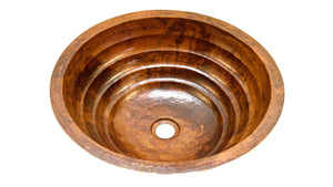 "TORNEDO in Natural - BS006NA - Round Undermount Bathroom Copper Sink with 1"" Flat Rim - 17 x 6"""