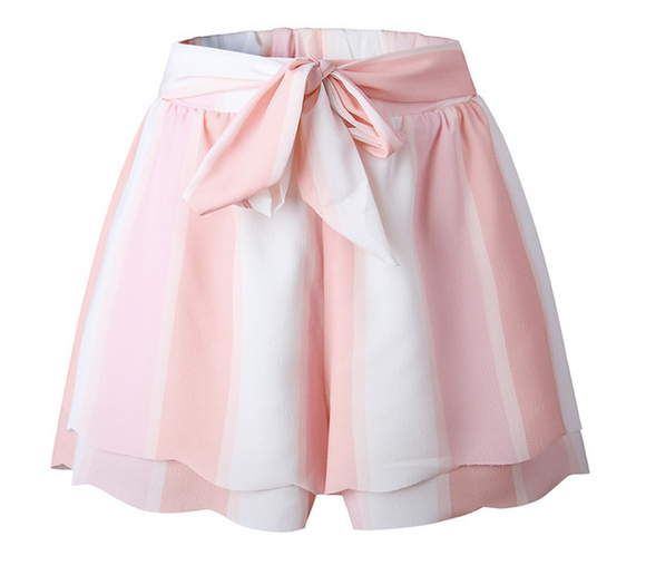 Pink & White Striped Bow Belted Shorts