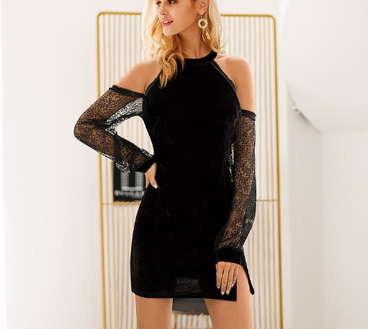 Velvet Mesh Cold Shoulder Dress