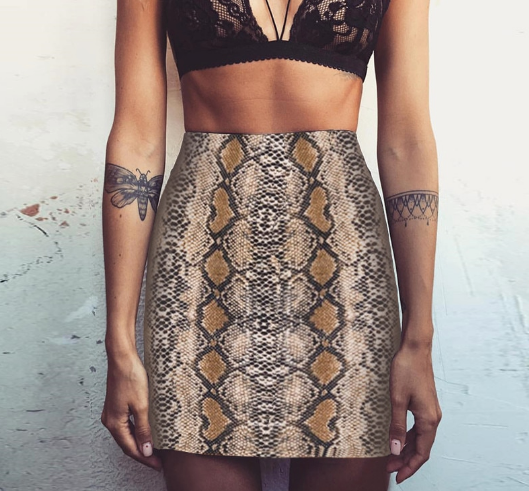 Snakeskin Body Con Skirt