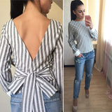 Bow Back Striped Top