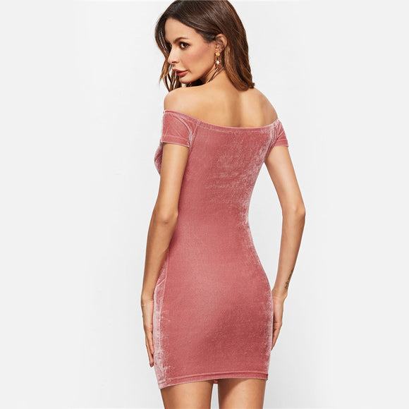 Pink Velvet Off The Shoulder Dress