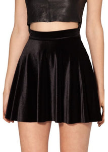 Velvet Pleated Skater Skirt