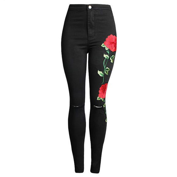Rose Embroidered Black Jeans