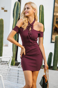 Halter Lace Up Cold Shoulder Dress