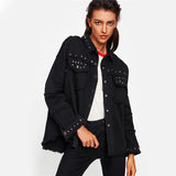 Studded & Frayed Black Denim Jacket